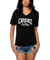 Crooks and Castles Squad Life Core Logo V-Neck T-Shirt