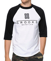 Crooks and Castles Thuxury Greco White & Black Baseball Tee Shirt