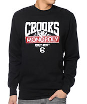 Crooks and Castles Time Is Money Black Crew Neck Sweatshirt