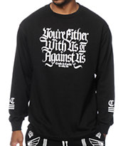 Crooks and Castles With Or Against Us Long Sleeve Black T-Shirt