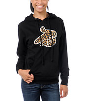 Crooks and Castles Women's Air Gun Leopard Black Pullover Hoodie