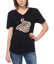 Crooks and Castles Women's Air Gun Leopard Black Tee Shirt