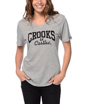 Crooks and Castles Women's Core Logo Grey V-Neck Tee Shirt