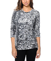 Crooks and Castles Women's Snake Print Crew Neck Sweatshirt
