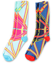 Crooks and Castles X Big Boi Regalia 2 Pack Blue & White Socks