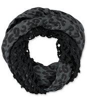 D&Y Black Cheetah Print Mix Knit Infinity Scarf