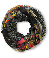 D&Y Black Floral Mix Knit Infinity Scarf