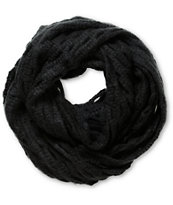 D&Y Black Oval Open Knit Infinity Scarf
