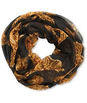 D&Y Black Tiger Print Infinity Scarf
