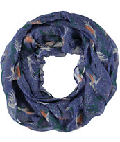 D&Y Blue Flying Peacock Print Infinity Scarf