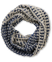 D&Y Blue Two Tone Chunky Knit Infinity Scarf
