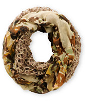 D&Y Brown Floral Mix Knit Infinity Scarf