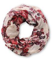 D&Y Burgundy Digi Floral Infinity Scarf