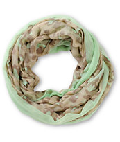 D&Y Cheetah Print & Light Green Infinity Scarf