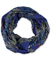 D&Y Dark Purple Feather Print Infinity Scarf
