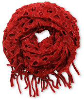D&Y Dark Red Open Knit Fringe Infinity Scarf