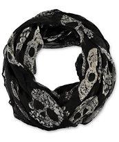 D&Y Flower Gem Skull Print Black & White Infinity Scarf