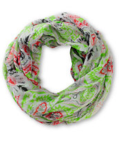 D&Y Grey & Lime Paisley Print Infinity Scarf