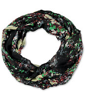 D&Y Impressionist Floral Black Infinity Scarf