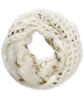 D&Y Leopard Cross Cream Mix Knit Infinity Scarf