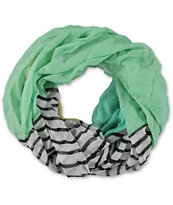 D&Y Mint Colorblock & Stripe Infinity Scarf