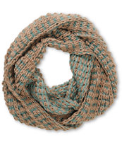 D&Y Natural & Teal Two Tone Chunky Knit Infinity Scarf