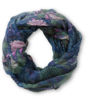 D&Y Navy Floral & Feather Print Infinity Scarf