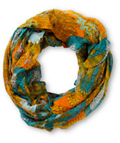 D&Y Orange Floral & Feather Print Infinity Scarf