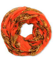 D&Y Orange Tiger Print Infinity Scarf