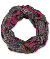 D&Y Pink Feather Print Infinity Scarf