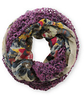 D&Y Purple & Grey Floral Mix Knit Infinity Scarf
