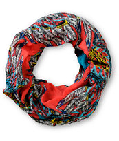D&Y Red Feather Print Infinity Scarf