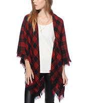 D&Y Red Plaid Blanket Scarf
