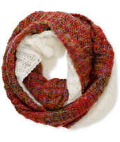 D&Y Spacedye Red & White Knit Infinity Scarf