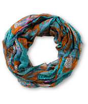 D&Y Teal Floral & Feather Print Infinity Scarf