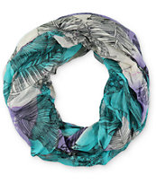 D&Y Tie Dye Feather Print Infinity Scarf
