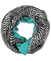 D&Y Zebra & Teal Colorblock Infinity Scarf