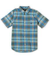 DC Boys Dignan Blue Plaid Button Up Shirt