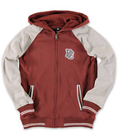 DC Boys District Maroon Fleece Varsity Zip Up Hoodie