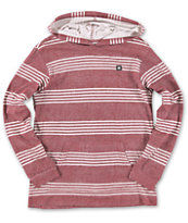 DC Boys Hero Land Maroon Striped Long Sleeve Hooded Knit Shirt