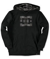 DC Boys Hookup Black Plaid Zip Up Hoodie