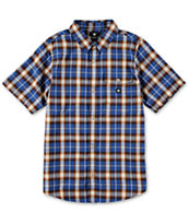 DC Boys Jocko Blue Plaid Short Sleeve Button Up Shirt