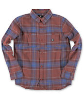 DC Boys Kingsmen Maroon Plaid Long Sleeve Flannel Shirt