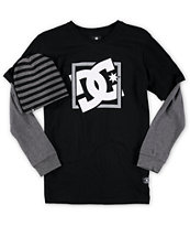 DC Boys Reflection Long Sleeve T-Shirt & Beanie Combo