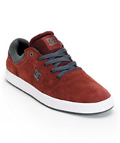 DC Crisis Burgundy, Charcoal, & White Suede Skate Shoe