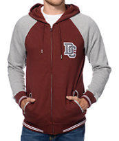 DC District Maroon Fleece Varsity Zip Up Hoodie