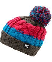 DC Girls Elm Grey, Fuchsia, & Blue Pom Fold Beanie