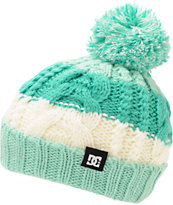 DC Girls Elm Mint & White Pom Fold Beanie