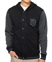 DC Hot Route Black Hooded Varsity Tech Fleece Jacket