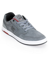 DC Nyjah Huston S Grey & White Suede Skate Shoe